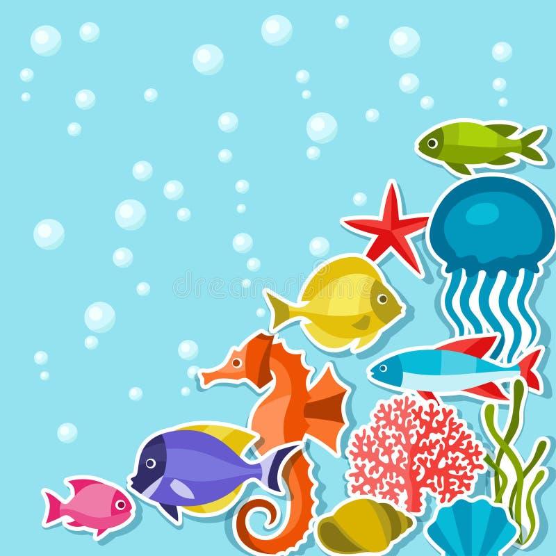Meeresflora und -fauna-Aufkleberhintergrund mit Seetieren lizenzfreie abbildung
