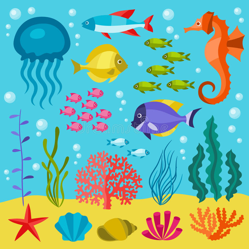 Meeresflora und -fauna-Satz Ikonen, Gegenstände und Seetiere lizenzfreie abbildung