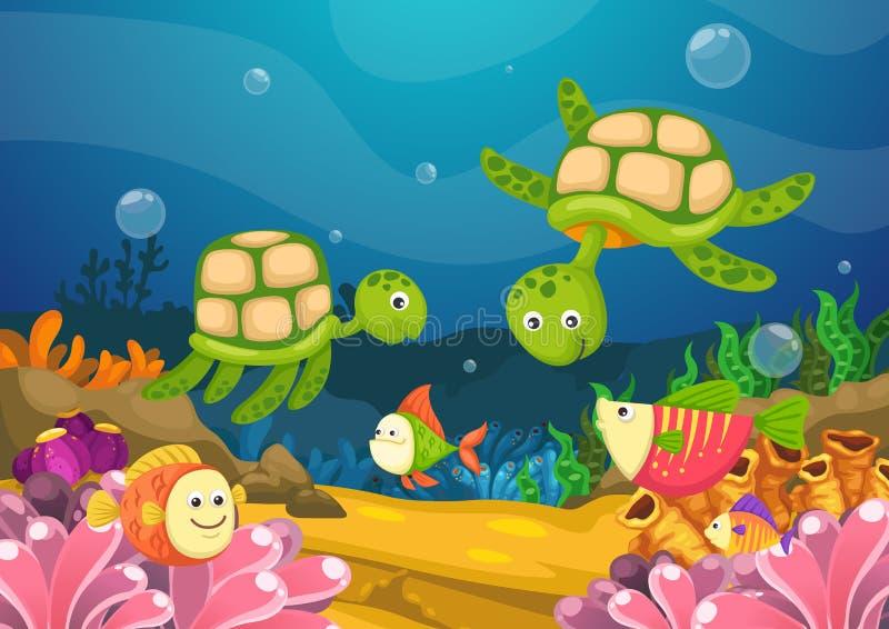 Meeresflora und -fauna unter dem Meer stock abbildung