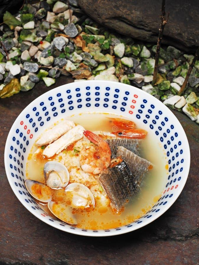Meeresfrüchte Congee stockfotografie