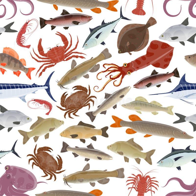 Meeresfrüchte, Fischmuster mit Krabbe, Lachs, Krake lizenzfreie abbildung