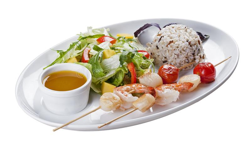 Meeresfrüchte mit Reis und Gemüse stockfoto
