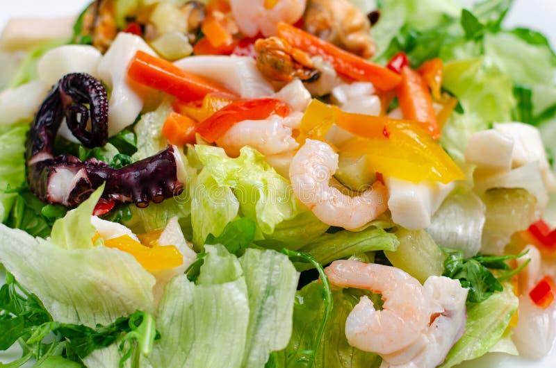 Meeresfrüchte-Salat mit Gemüse und Salat auf weißem Teller mediterrane Delikatessen lizenzfreies stockfoto