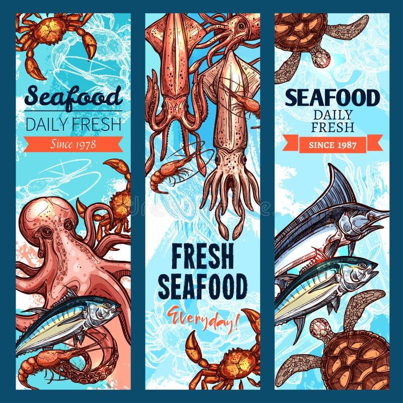 Meeresfrüchte- und Fischmarktfahne stellte mit Seetier ein vektor abbildung