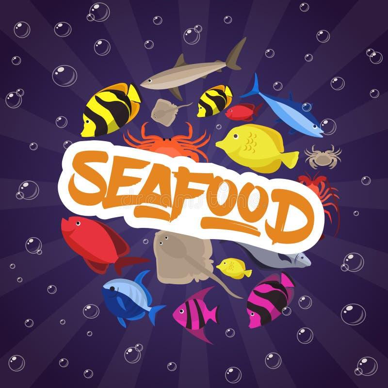 Meeresfrüchtebühnenbildplattfisch, -krabbe und -hummer Auch im corel abgehobenen Betrag lizenzfreies stockfoto
