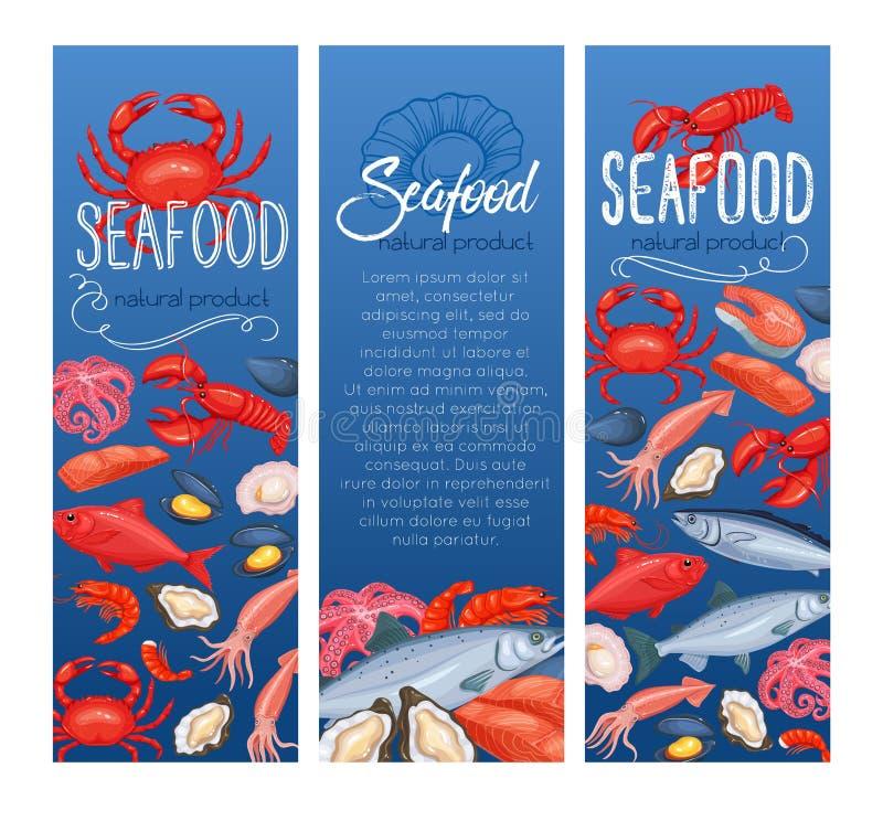 Meeresfrüchtefahne, -fische und -schalentiere stock abbildung