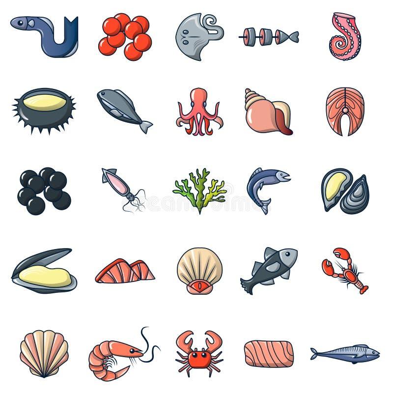 Meeresfrüchtefisch-Ozeanikonen stellten, Karikaturart ein vektor abbildung