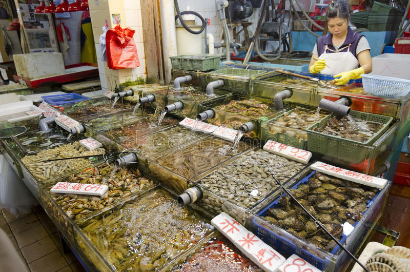 Meeresfrüchtegeschäft in Sai Kung, Hong Kong lizenzfreies stockbild