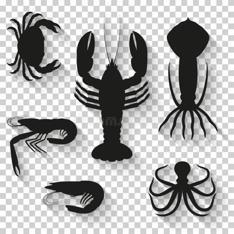 Meeresfrüchteikonen eingestellt Schattenbildikonen mit Schatten auf transparentem Hintergrund lizenzfreie abbildung