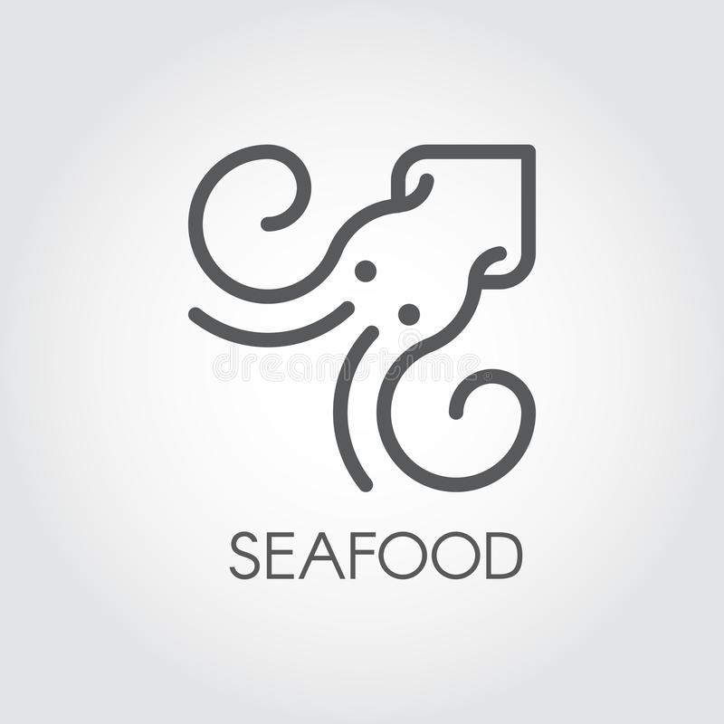 Meeresfrüchtelinie Ikone Konturnbild des Hummers oder des Kalmars Unterwassertierschattenbild Lebensmittel-Reihenaufkleber Vektor stock abbildung