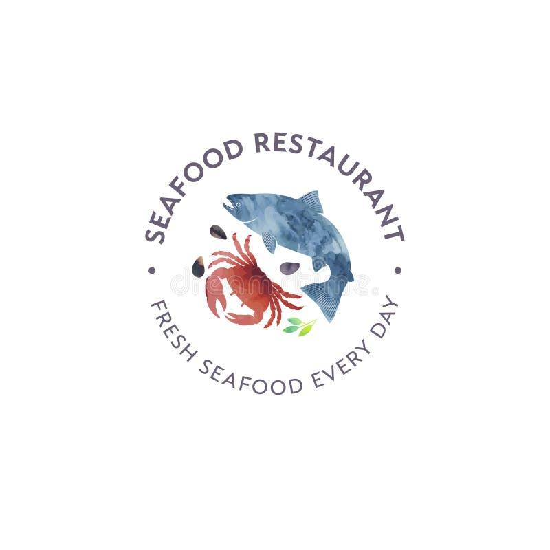 Meeresfrüchterestaurant- und -marktlogo Rote Krabbe, Oberteile, Lachsfischaquarellillustration vektor abbildung