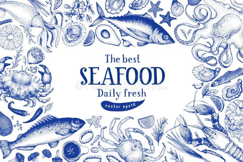 Meeresfrüchtevektor-Rahmenillustration Sein kann Gebrauch für Restaurants Menü, die Abdeckung und verpacken Gezeichnete Fahnensch stockfoto