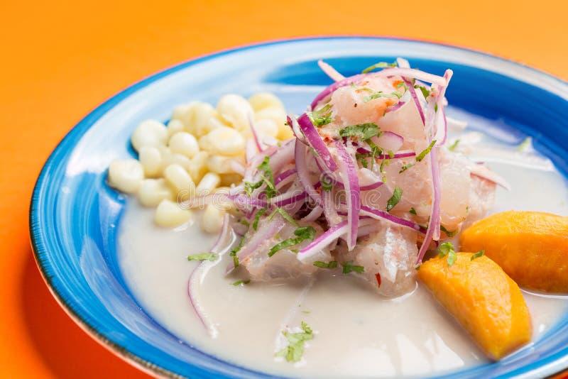 Meeresfr?chte ceviche, typischer Teller von Peru stockfotografie