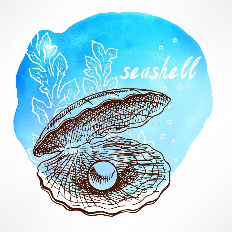 Meerespflanze und Oberteil mit Perle lizenzfreie abbildung