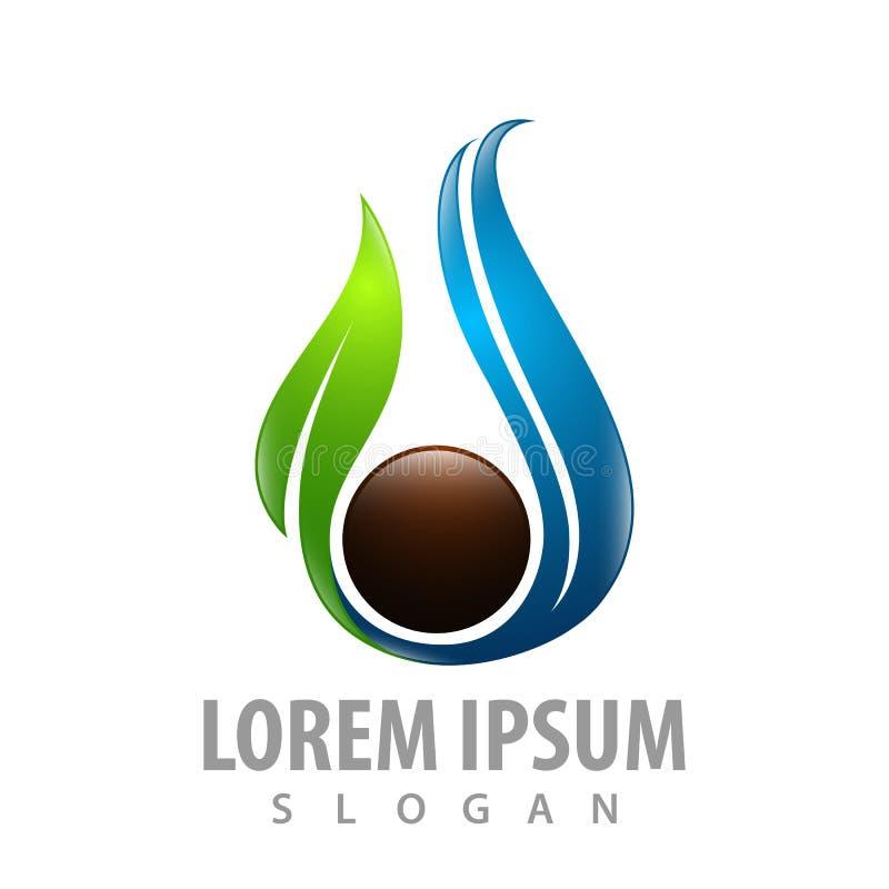 Meerespflanzenblatt mit Kreisbraun-Konzeptentwurf Schablonen-Elementvektor des Symbols grafischer lizenzfreie abbildung