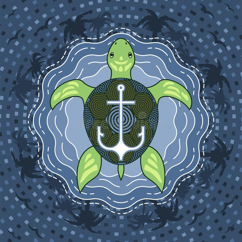 Meeresschildkröte mit Anker auf blauem Inselwasserhintergrund vektor abbildung