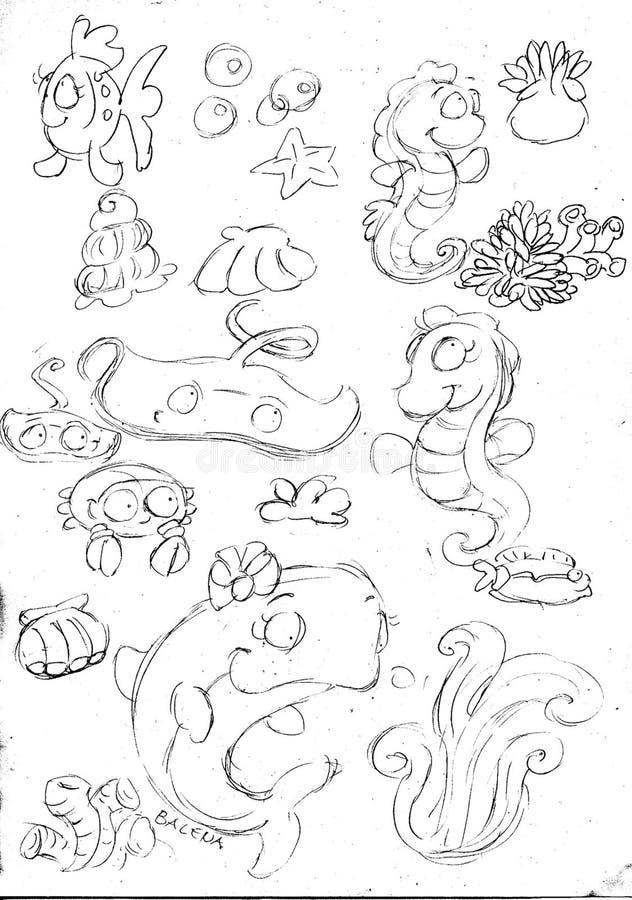 Meerestiere Wal, Seahorse, Krabbe Und Fische Züchten, Skizzen Und ...