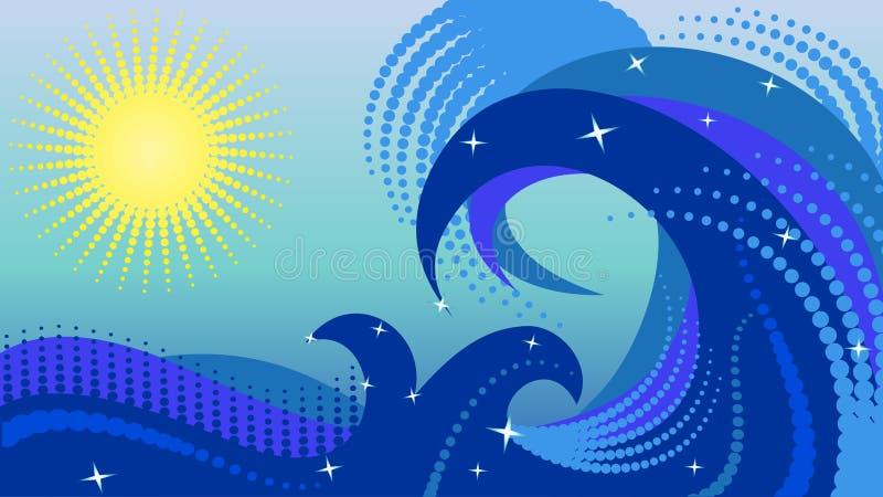 Meereswellen mit Elementen des Halbtons lizenzfreies stockfoto