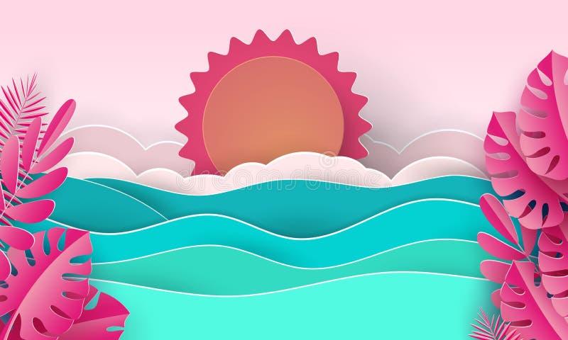 Meereswellen und tropischer Strand in der Papierkunstart Reisekonzept-Vektorillustration Sommerferienplakat im Papierschnitt lizenzfreie stockfotografie