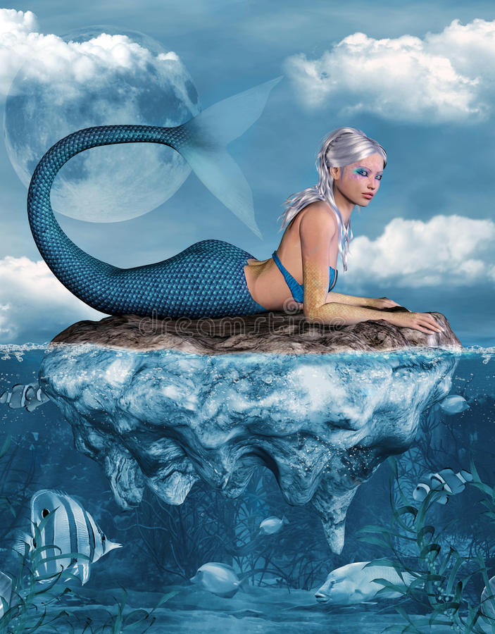 Meerjungfrau auf einem Felsen vektor abbildung