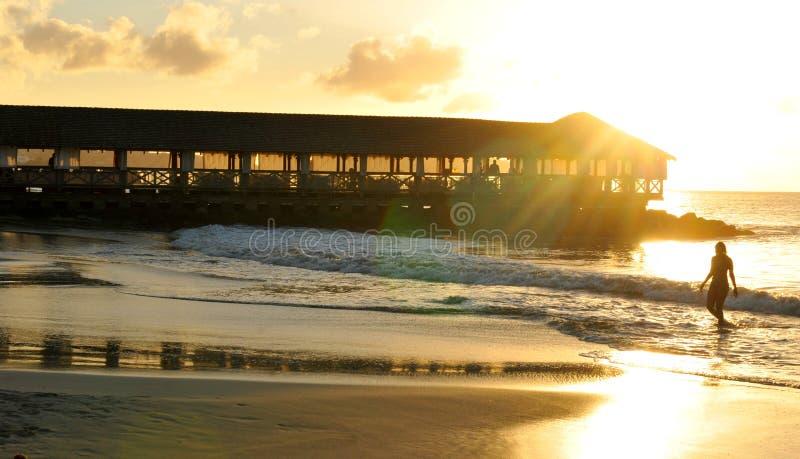 Meerjungfrau bei Sonnenuntergang stockfotografie