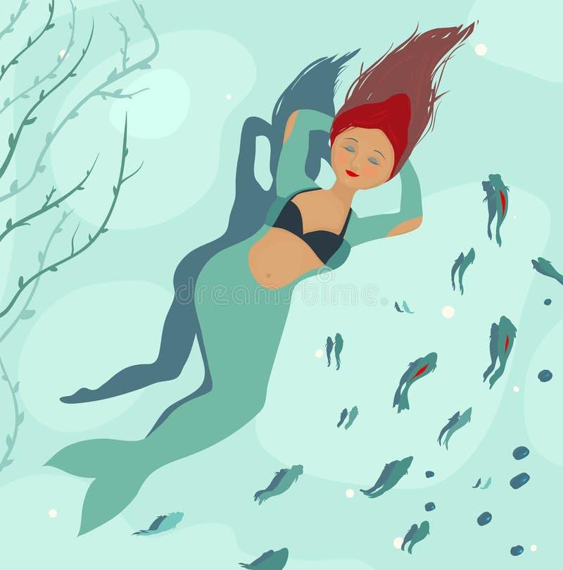 Meerjungfrau, die von den Beinen träumt lizenzfreie abbildung