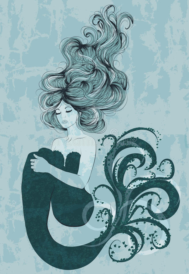 Meerjungfrau, die in Wasser schwimmt stock abbildung