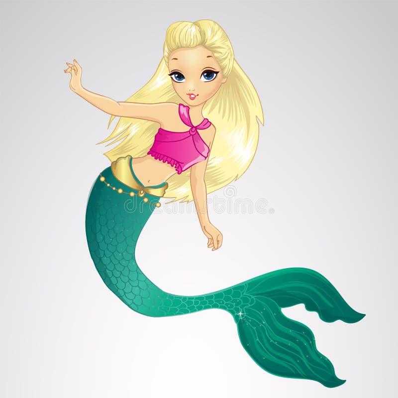 Meerjungfrau mit dem langen blonden Haar vektor abbildung