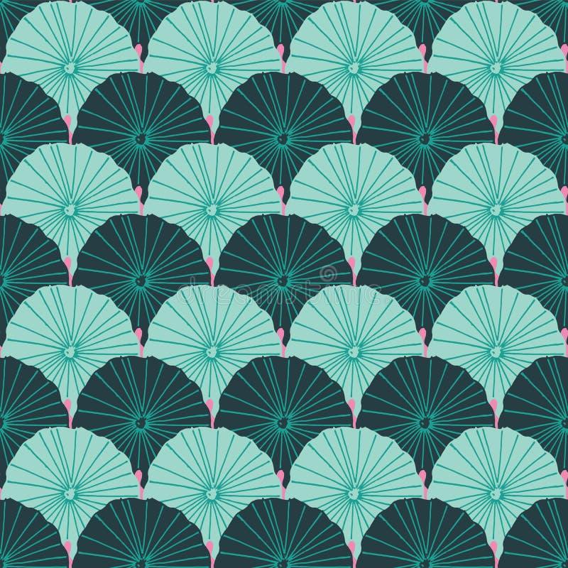 Meerjungfrau- oder Fischschuppelotosblätter entwerfen in einer bunten modernen tropischen Art des Grüns und des Rosas Nahtloses V vektor abbildung