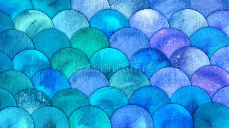 Meerjungfrau stuft Aquarell-Fische squame Hintergrund ein Stuft blaues Muster des hellen Sommers Seemit Reptilian Zusammenfassung stock abbildung