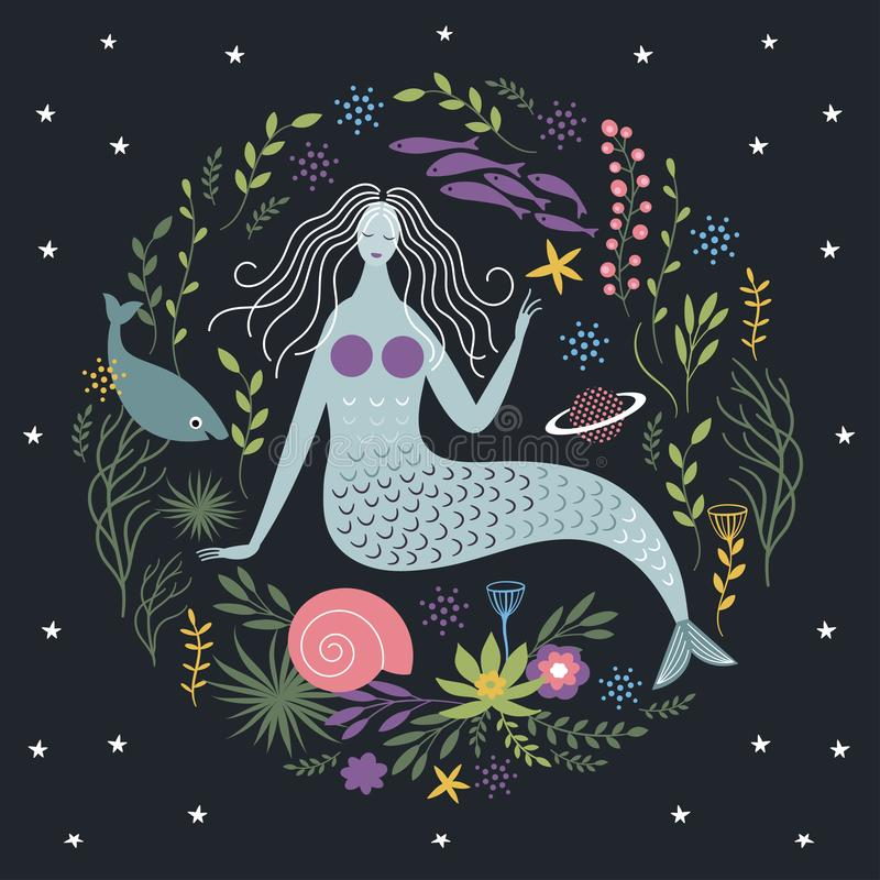 Meerjungfrau unter Algen und Fischen lizenzfreie abbildung