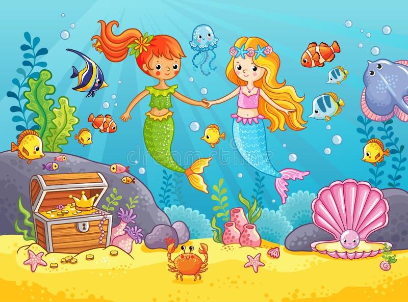 Meerjungfrauen unter den Fischgriffhänden lizenzfreie abbildung