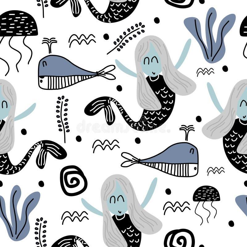Meerjungfraumuster mit den dekorativen Kindern, die Art zeichnen lizenzfreie abbildung