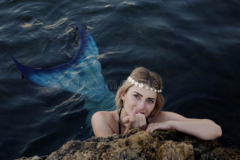 Meerjungfrauschwimmen im Wasser, das aus den Felsen heraus späht stockfoto