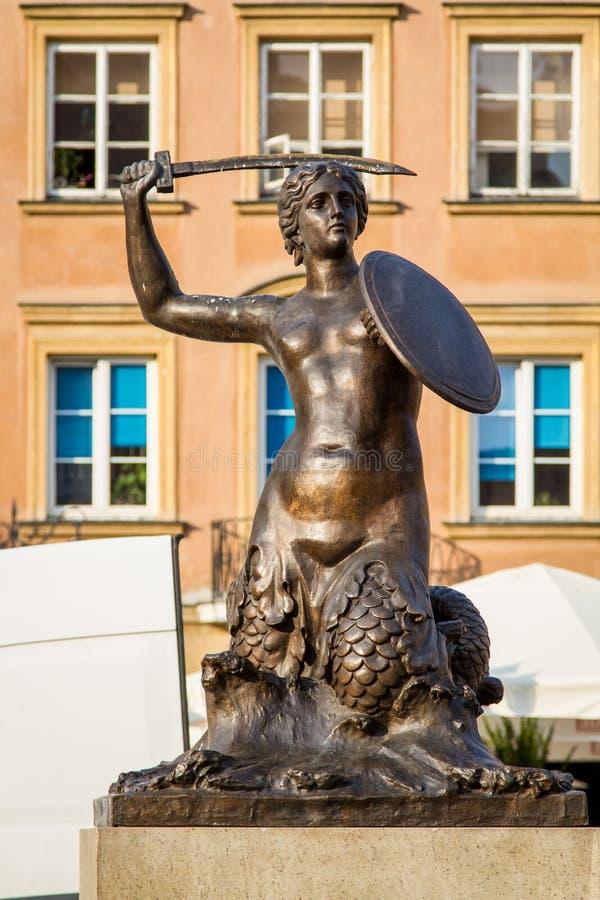 Meerjungfraustatue, Symbol von Warschau stockbilder