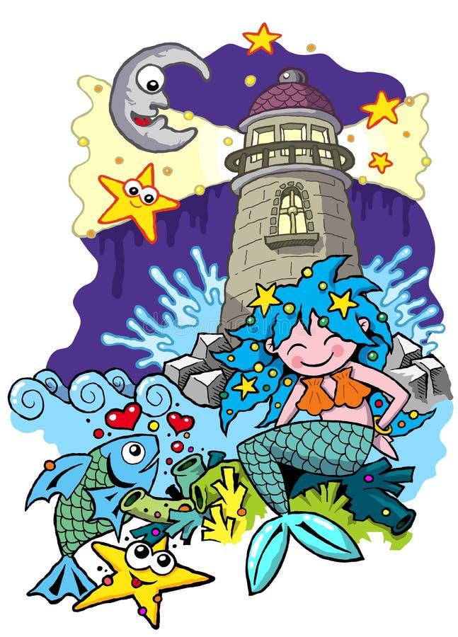 Meerjungfrauszene mit Leuchtturmfische Starfishmond und -sternen stock abbildung