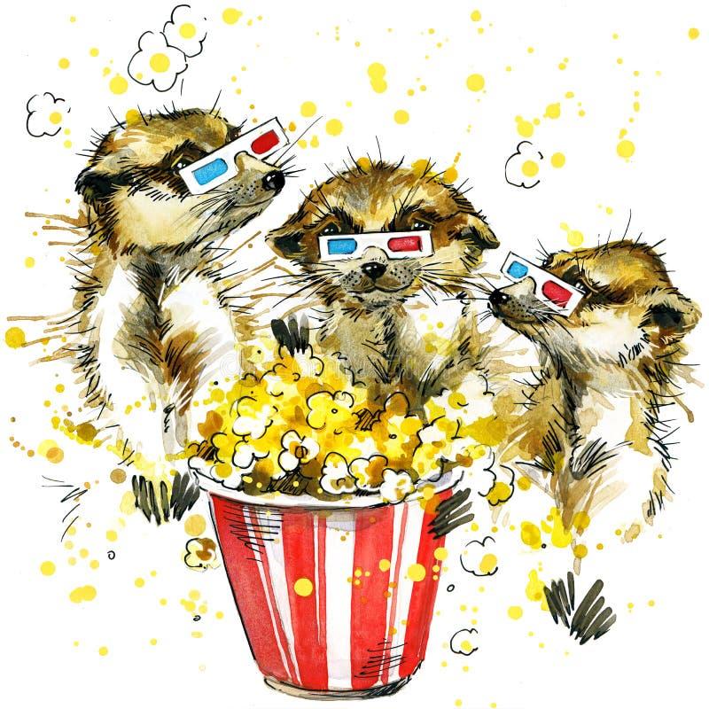 Meerkat divertente, fondo dell'acquerello illustrazione vettoriale