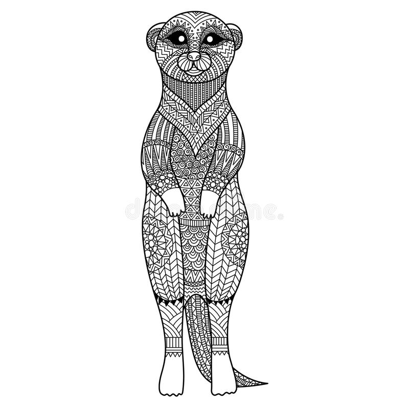 Meerkat standing zentangle art stylize for T - Shirt graphic, poster, coloring book for adult and so on stock illustration