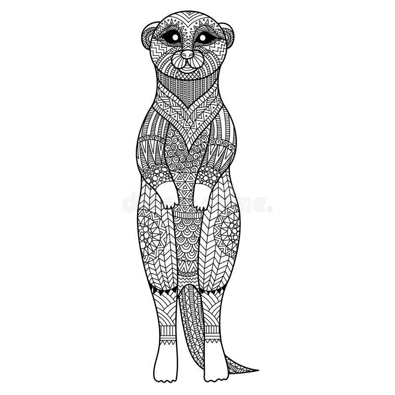 Meerkat stiliserar stående zentanglekonst för T-tröjadiagrammet, affischen, färgläggningboken för vuxen människa och så vidare stock illustrationer