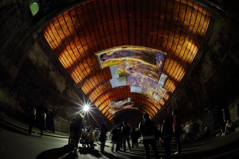 Meerkats i Argyle Tunnel - livberättelse på livliga Sydney royaltyfri bild