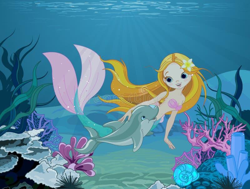 Meermin en dolfijnachtergrond vector illustratie