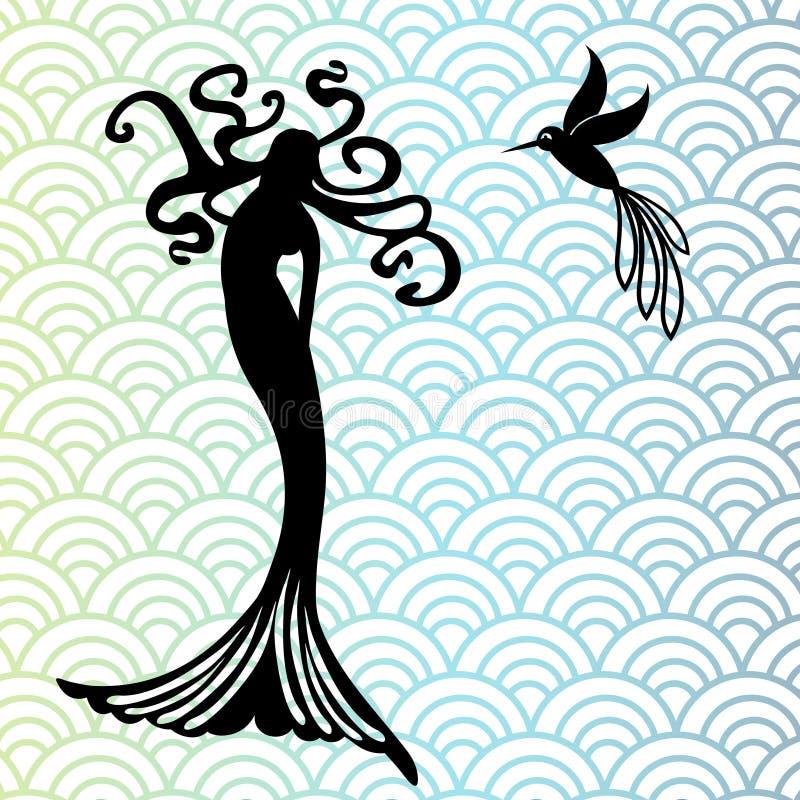 Meermin en kolibrie royalty-vrije illustratie