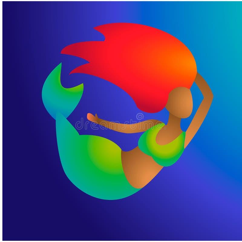 Meermin van het Afro de zwarte roodharige met groene staart en bruine huid op blauwe achtergrond De jonge mariene meisjesvis nodi vector illustratie