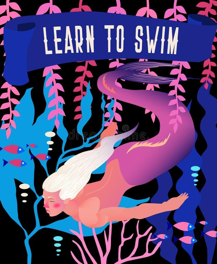 Meermin vectorillustratie Onderwater marien fairytalelandschap met het karakter van de mythologiefantasie Heldere uitstekende ret vector illustratie