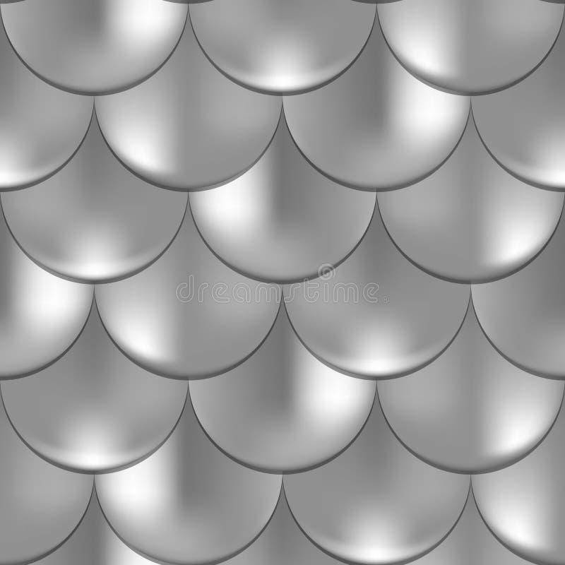 Meermin of vissenschaal naadloos patroon met holografisch effect Glanzende meerminachtergrond Zilveren patroonmonster vector illustratie