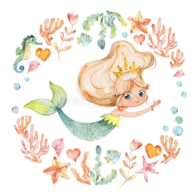Meerminwaterverf die door Kader van overzeese elementen wordt omringd, Zeepaardje, koralen, bellen, zeeschelpen, anker, zeewieren royalty-vrije illustratie