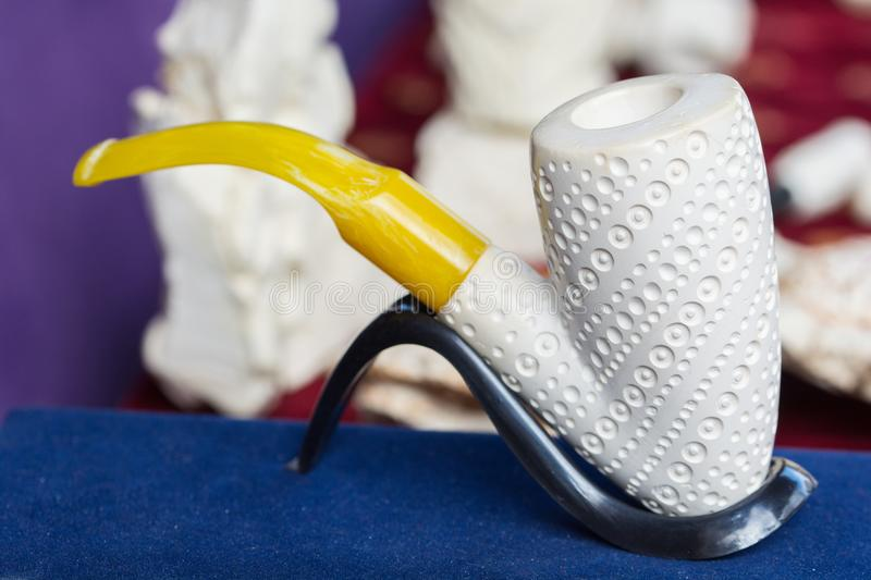Meerschaum tobacco pipe. In the form of sculptures. Almost all of meerschaum is removed from Eskisehir / Turkey royalty free stock images