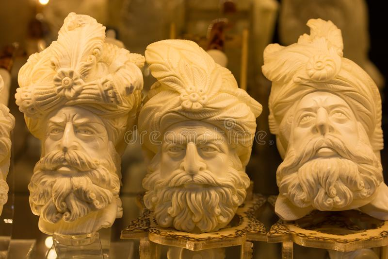 Meerschaum tobacco pipe. In the form of sculptures. Almost all of meerschaum is removed from Eskisehir / Turkey stock photo