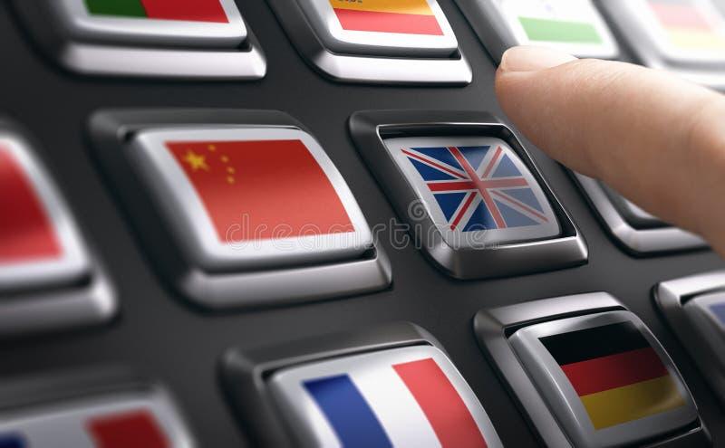 Meertalige ondersteuning of het leren van Engels en andere talen royalty-vrije stock afbeelding