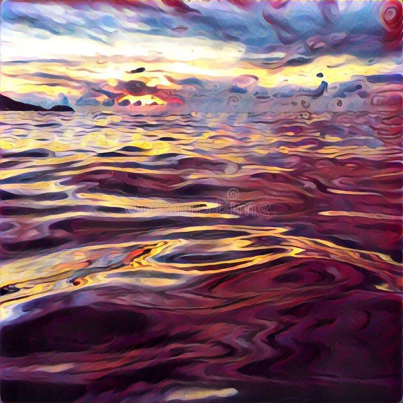 Meerwasser-Nahaufnahmefoto auf Sonnenuntergangzeit Himmel- und Sonnenreflexionen im Meer lizenzfreie abbildung